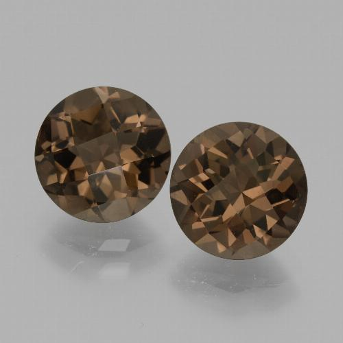 Brown Smoky Quartz Gem - 1.8ct Round Checkerboard (ID: 436890)