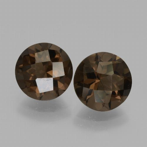 1.8ct Round Checkerboard Brown Smoky Quartz Gem (ID: 436891)