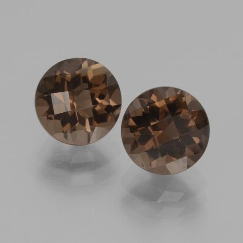 Umber Brown Smoky Quartz Gem - 2ct Round Checkerboard (ID: 436994)