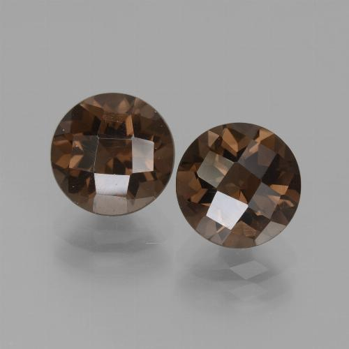 Brown Smoky Quartz Gem - 1.9ct Round Checkerboard (ID: 436997)
