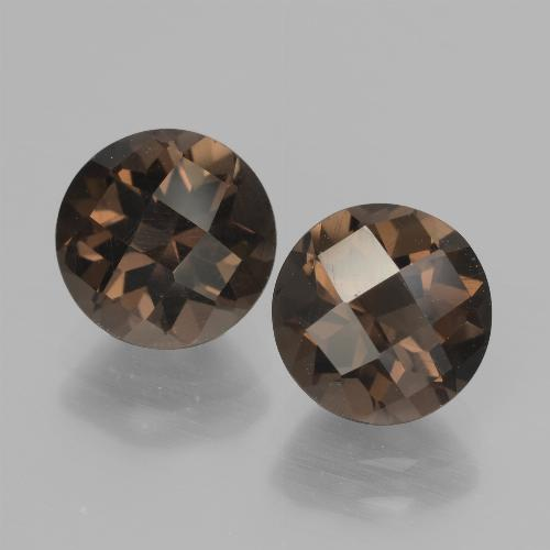 Brown Smoky Quartz Gem - 1.9ct Round Checkerboard (ID: 437129)