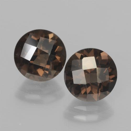 Brown Smoky Quartz Gem - 1.9ct Round Checkerboard (ID: 437133)