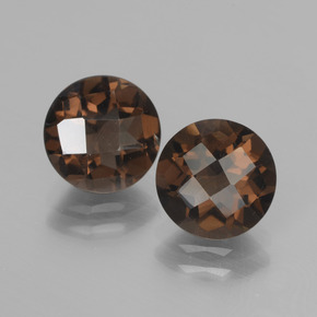 Brown Smoky Quartz Gem - 1.7ct Round Checkerboard (ID: 437206)