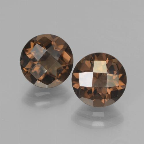 Brown Smoky Quartz Gem - 1.8ct Round Checkerboard (ID: 437207)
