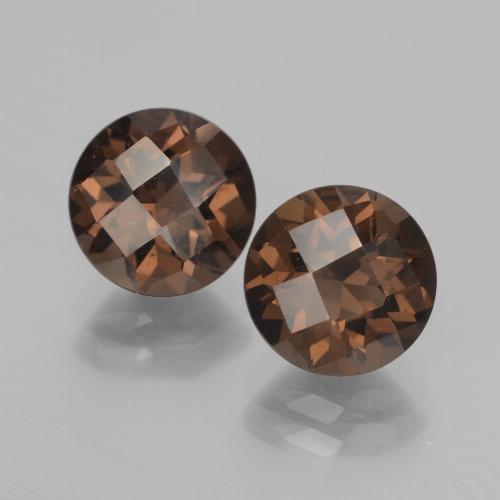Hickory Brown Smoky Quartz Gem - 1.9ct Round Checkerboard (ID: 437208)