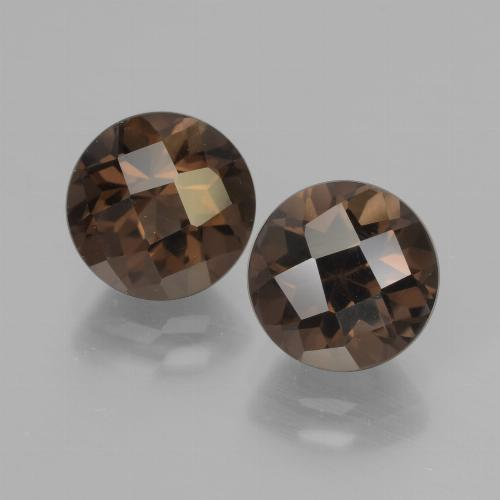 Dark Brown Smoky Quartz Gem - 2.1ct Round Checkerboard (ID: 437210)