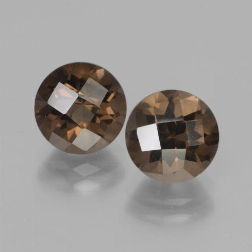 Brown Smoky Quartz Gem - 2ct Round Checkerboard (ID: 437212)