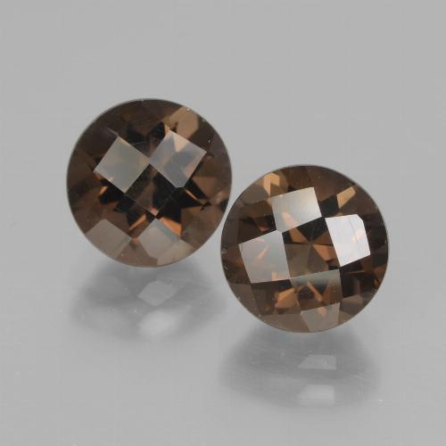 Brown Smoky Quartz Gem - 1.9ct Round Checkerboard (ID: 437215)