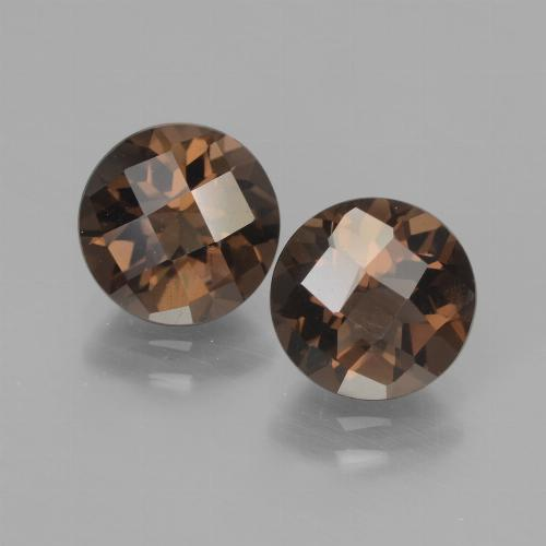 Hickory Brown Smoky Quartz Gem - 1.8ct Round Checkerboard (ID: 437217)