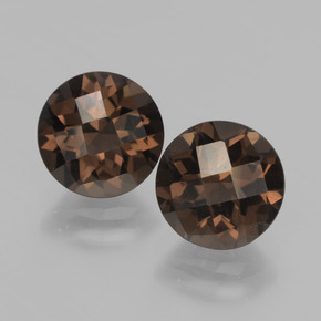 Hickory Brown Smoky Quartz Gem - 1.9ct Round Checkerboard (ID: 437315)