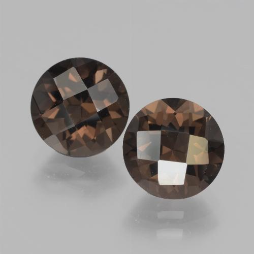 Hickory Brown Smoky Quartz Gem - 1.9ct Round Checkerboard (ID: 437325)