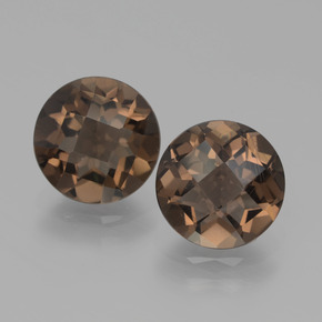1.7ct Round Checkerboard Brown Smoky Quartz Gem (ID: 439748)