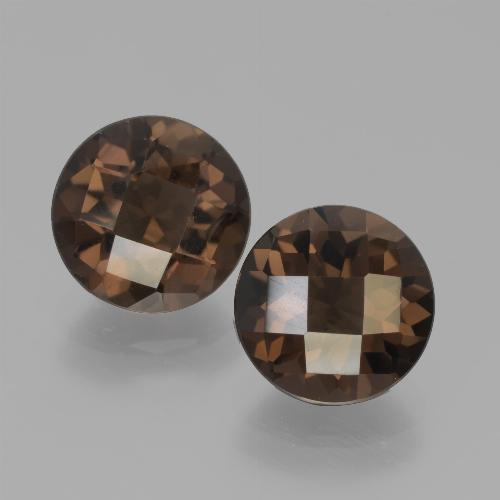 Brown Smoky Quartz Gem - 1.9ct Round Checkerboard (ID: 439754)
