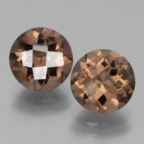 Brown Smoky Quartz Gem - 1.8ct Round Checkerboard (ID: 439821)