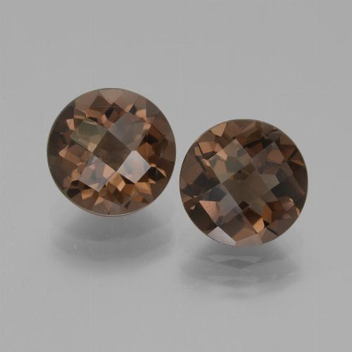 Brown Smoky Quartz Gem - 1.8ct Round Checkerboard (ID: 440013)