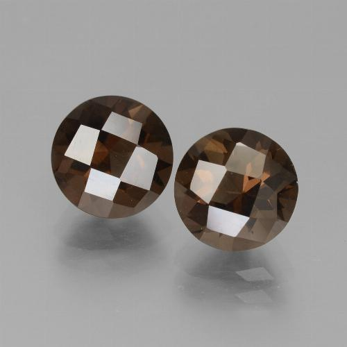 Brown Smoky Quartz Gem - 1.8ct Round Checkerboard (ID: 442830)