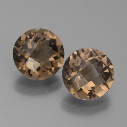 Brown Smoky Quartz Gem - 1.6ct Round Checkerboard (ID: 442860)