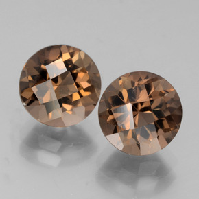 Medium Brown Quartz Fumé gemme - 2ct Damier rond (ID: 442863)