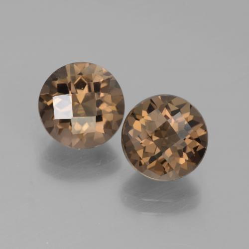 Brown Smoky Quartz Gem - 1.9ct Round Checkerboard (ID: 442879)