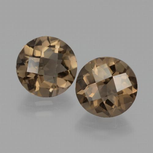 Brown Smoky Quartz Gem - 1.8ct Round Checkerboard (ID: 442926)