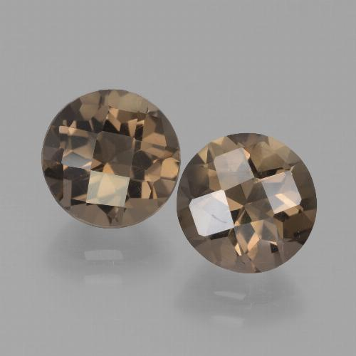 Brown Smoky Quartz Gem - 1.8ct Round Checkerboard (ID: 442927)