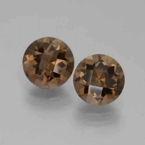 Medium Brown Smoky Quartz Gem - 1.8ct Round Checkerboard (ID: 442958)