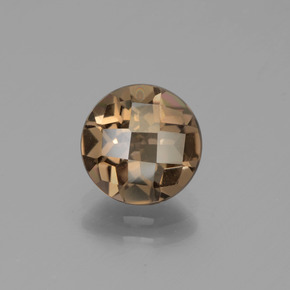 Medium-Dark Brown Cuarzo Ahumado Gema - 1.8ct Tablero de Ajedrez Redondo (ID: 442987)