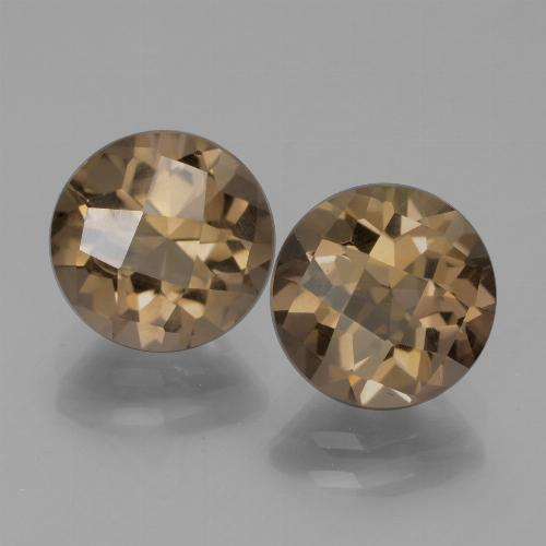 Brown Smoky Quartz Gem - 1.8ct Round Checkerboard (ID: 443041)