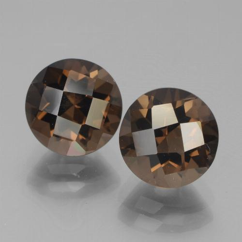 Hickory Brown Smoky Quartz Gem - 1.9ct Round Checkerboard (ID: 443042)