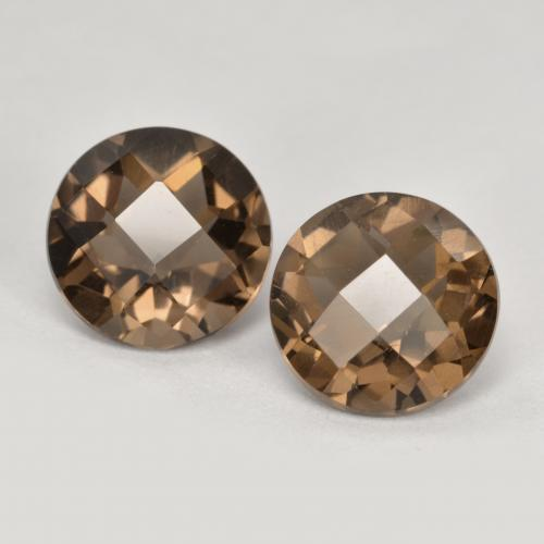 Brown Smoky Quartz Gem - 1.7ct Round Checkerboard (ID: 443081)