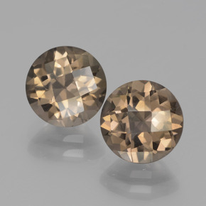 Light Brown Smoky Quartz Gem - 1.8ct Round Checkerboard (ID: 443082)