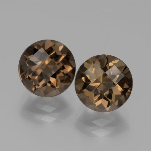 Brown Smoky Quartz Gem - 1.8ct Round Checkerboard (ID: 443086)