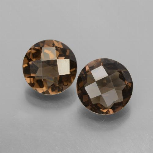 Marrone Quarzo fumé Gem - 1.6ct Checkerboard rotondo (ID: 448140)