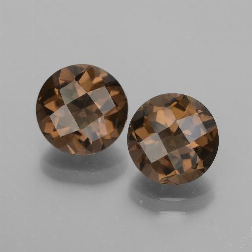 Chocolate Brown Quarzo fumé Gem - 1.8ct Checkerboard rotondo (ID: 448141)