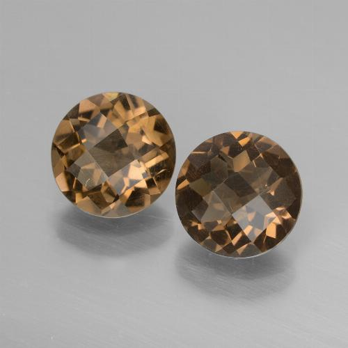 Brown Smoky Quartz Gem - 1.6ct Round Checkerboard (ID: 448142)