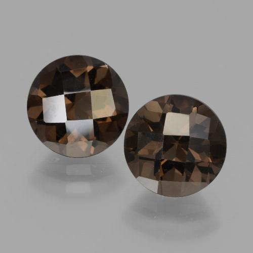 Brown Smoky Quartz Gem - 2ct Round Checkerboard (ID: 448211)