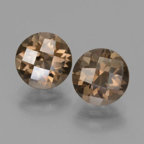 Brown Smoky Quartz Gem - 1.8ct Round Checkerboard (ID: 448266)