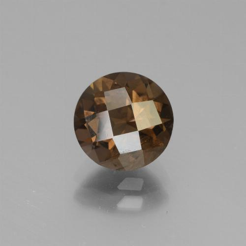 Chocolate Brown Smoky Quartz Gem - 1.7ct Round Checkerboard (ID: 448352)