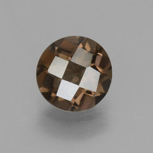 Medium Brown Quartz Fumé gemme - 1.5ct Damier rond (ID: 448378)