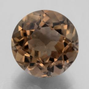 Medium Brown Smoky Quartz Gem - 4.7ct Round Facet (ID: 464012)