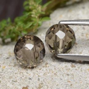 1.3ct Drilled Faceted Sphere Brown Smoky Quartz Gem (ID: 479023)