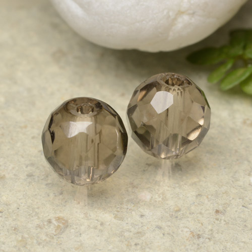 Warm Brown Smoky Quartz Gem - 1.4ct Drilled Faceted Sphere (ID: 479392)