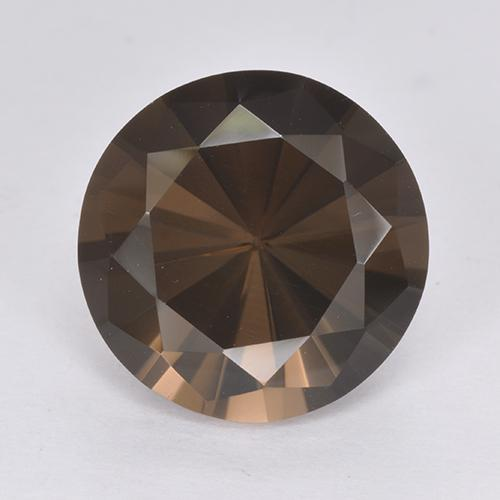 Marrone scuro Quarzo fumé Gem - 6.6ct Taglio brillante (ID: 513380)