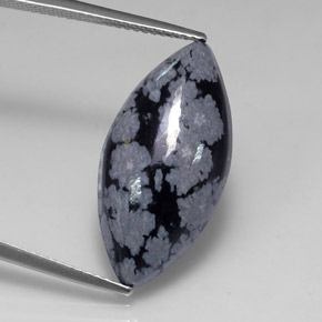 Buy 9.87 ct Gray-White Black Snowflake Obsidian 24.11 mm x 11.9 mm from GemSelect (Product ID: 317154)