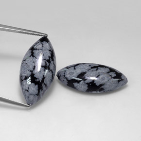 Buy 21.61 ct Gray-White Black Snowflake Obsidian 24.35 mm x 12 mm from GemSelect (Product ID: 317162)