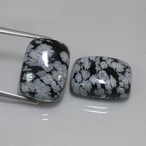 Buy 24.87 ct Black White Snowflake Obsidian 17.78 mm x 13.2 mm from GemSelect (Product ID: 323781)