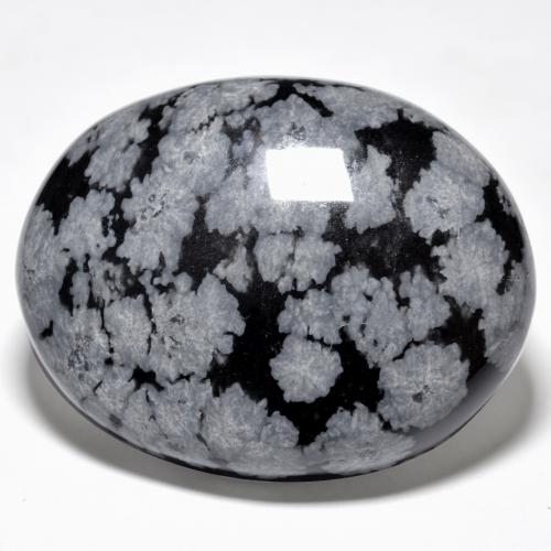 Multicolor Snowflake Obsidian Gem - 42.3ct Oval Cabochon (ID: 485421)