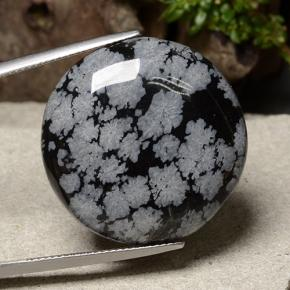 31.2ct Round Cabochon Snowflake Snowflake Obsidian Gem (ID: 485429)