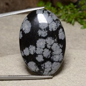 Multicolor Snowflake Obsidian Gem - 25ct Oval Cabochon (ID: 485584)