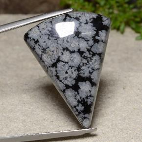Flocon de neige Flocon de Neige Obsidienne Gem - 23.5ct Cabochon trillion (ID: 485585)